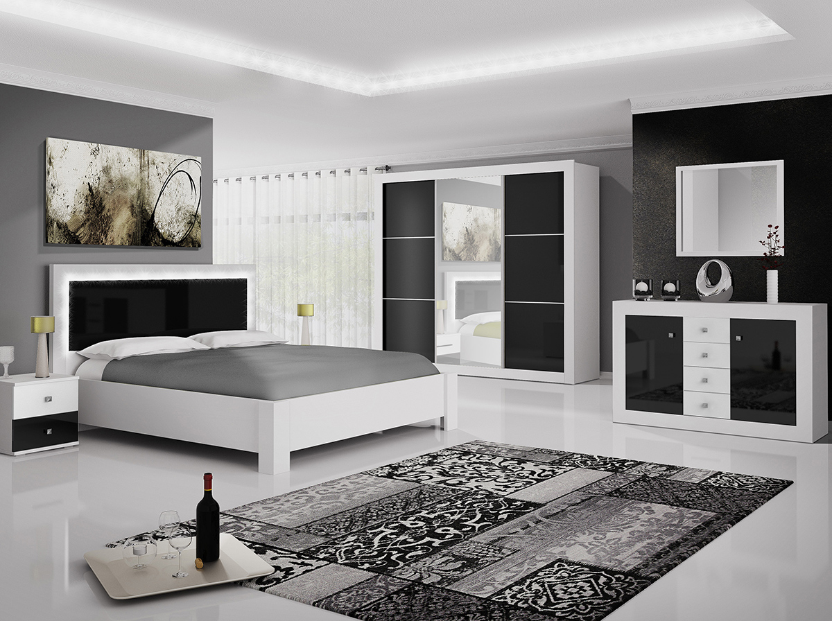Roma - Biały / Czarny połysk